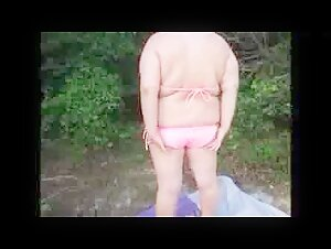 Blond milf with extraordinary huge innate bosoms alone at home